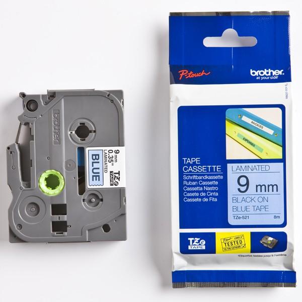 Nhãn Brother TZe521, Black on Blue, 9mm x 8m
